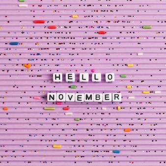 Hello november, quote met kralen