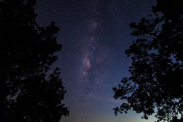 Hemelachtergrond bij nacht en milkyway