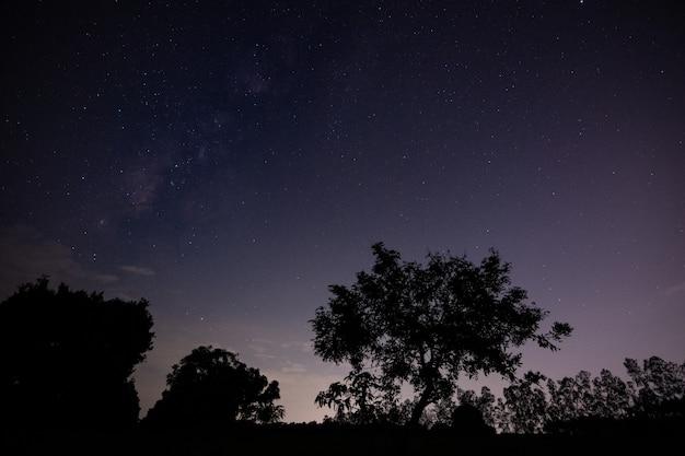 Hemelachtergrond en milkyway bij nacht
