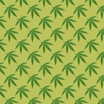 Hennep of cannabis laat naadloos patroon achter. close up van verse cannabisbladeren op gele achtergrond