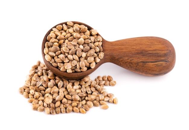 Hennepzaden geïsoleerd droge zaden van cannabis, hennep of marihuana in houten lepel.