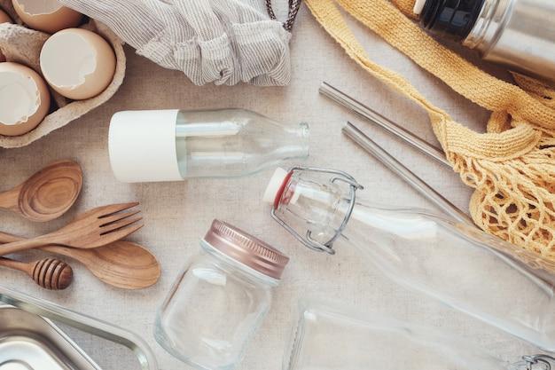 Herbruikbaar, plastic vrij, eco-leven en geen afvalconcept