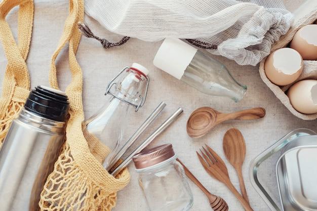 Herbruikbare boodschappentas, plastic gratis, eco-leven en zero waste-concept