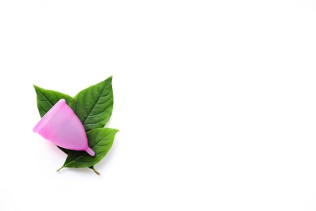 Herbruikbare menstruatie cup en groene bladeren geïsoleerd op wit