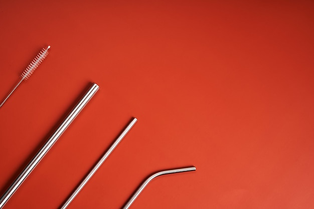 Herbruikbare metalen rietjes voor drankjes en schoonmaaktool