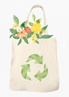 Herbruikbare tas met bloemenontwerpelement