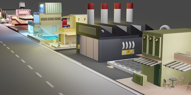Herenhuis gebouw stadslandschap en straten met stadsblokken woonhuis 3d illustratie