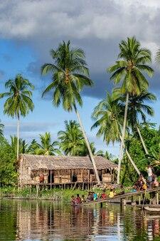 Herenhuis in het traditionele dorp van de asmat-stam aan de rivier.