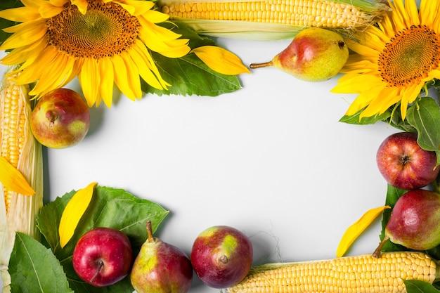 Herfst achtergrond. frame gemaakt van zonnebloem, maïs en peren. oogst vakantie concept
