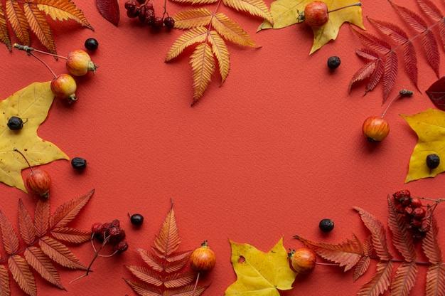 Herfst achtergrond. herfstbladeren frame op een rode achtergrond