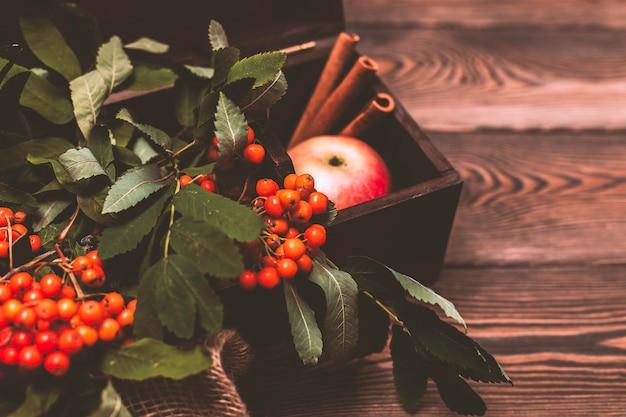 Herfst achtergrond met appels kaneel en een rowan tak in een houten kist op een houten tafel in rustieke stijl kopieer de ruimte