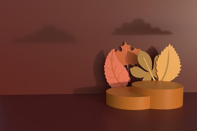 Herfst achtergrond met podium 3d-rendering illustratie