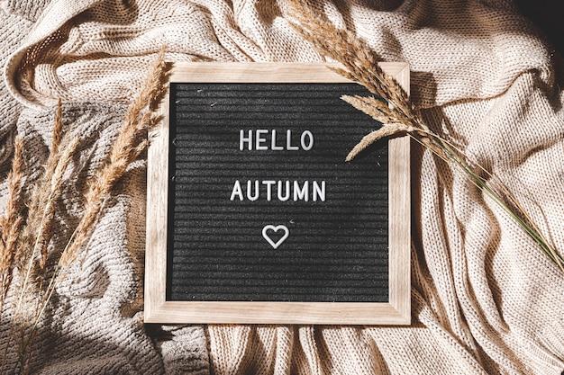 Herfst achtergrond zwarte letter bord met tekst zin hallo herfst en gedroogd gras liggend op wit ...