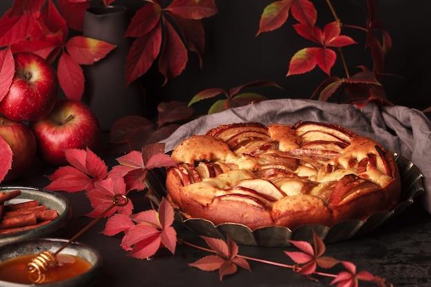 Herfst appeltaart. eigengemaakte cake van druivenbladeren. appeltaart met kaneel.