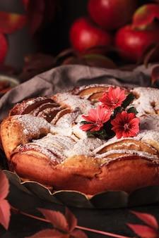 Herfst appeltaart. zelfgemaakte taarten op het oppervlak van druivenbladeren. appeltaart met kaneel.