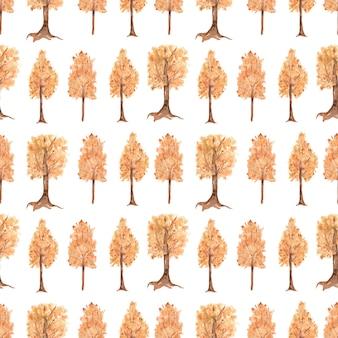 Herfst bomen digitaal papier, aquarel herfst bos herhalen papier, bos patroon, bloemen naadloos papier