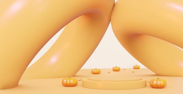 Herfst creatief voetstuk met pompoenen. op een oranje abstracte achtergrond. 3d-rendering.