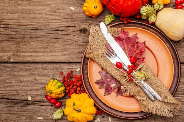 Herfst en thanksgiving diner couvert