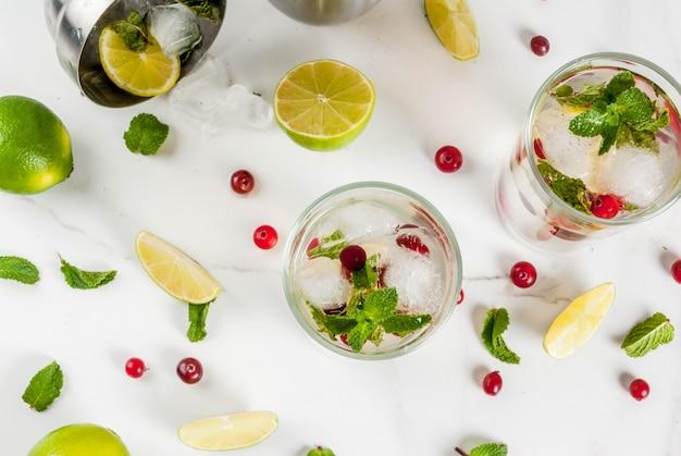 Herfst en winter verfrissing drankje cranberry mojito cocktail met limoen en munt op witte tafel
