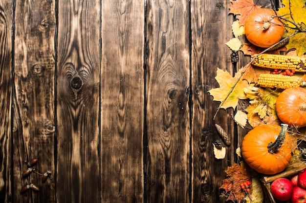 Herfst eten. herfst fruit en groenten. op houten achtergrond.
