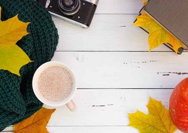 Herfst flatley, een zeldzame camera, herfstbladeren en een gebreid ding