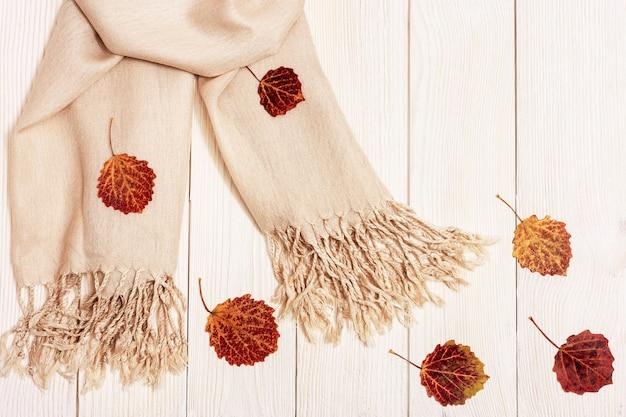 Herfst gezellige compositie met gedroogde bladeren van esp en pastel beige sjaal