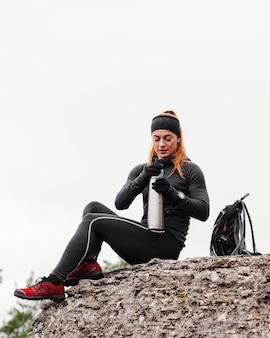Herfst hardlopen buitenshuis training en koffie drinken