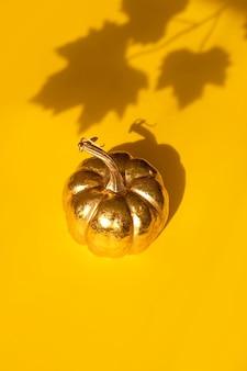 Herfst herfst thanksgiving day samenstelling met decoratieve gouden pompoen en esdoornbladschaduw
