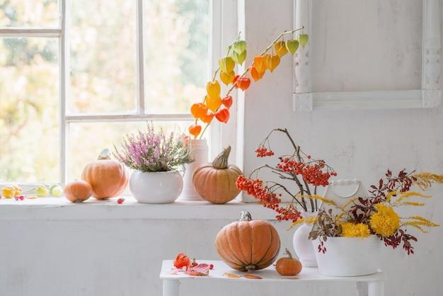 Herfst natuurlijk decor met pompoenen en lijsterbessen op witte achtergrond