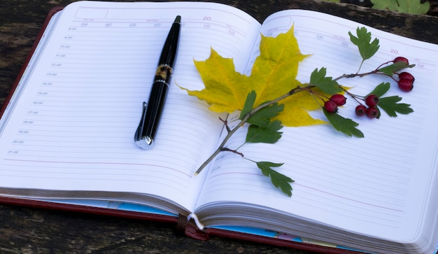 Herfst. notitieboekje met gele bladeren en rode bessen. bovenaanzicht
