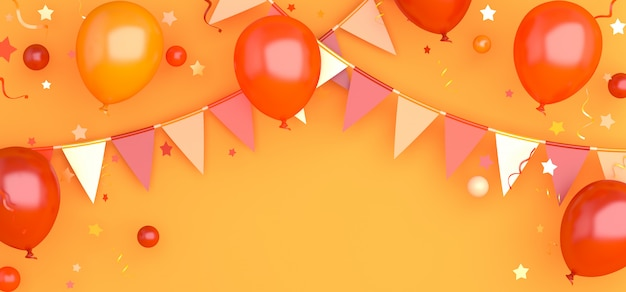 Herfst of halloween achtergrond decoratie met oranje ballon en gors slinger vlag