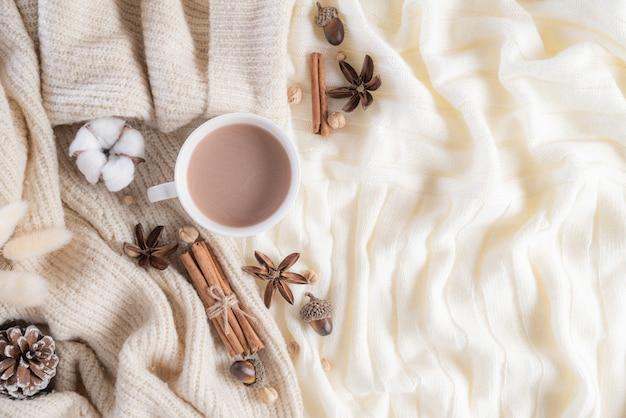 Herfst of winter samenstelling op crème kleur pluizige achtergrond. plat leggen.