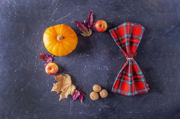 Herfst oogstfeest en thanksgiving day tafelsetting
