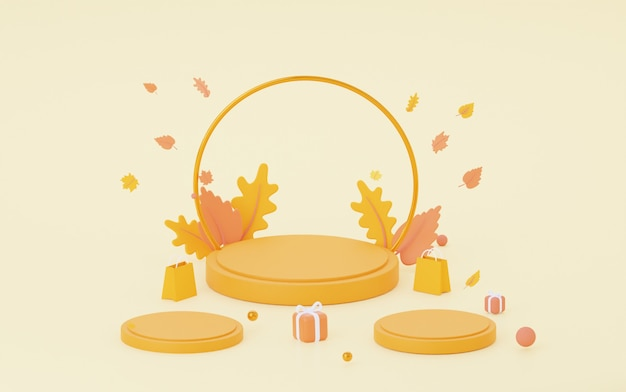 Herfst oranje podium. voor de verkoop van tassen, schoenen en andere producten. 3d-rendering,