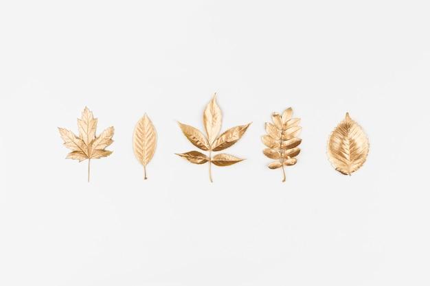 Herfst plat leggen. gouden herfstbladeren op wit
