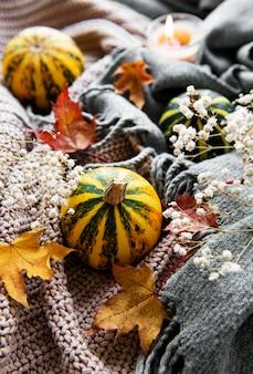 Herfst pompoenen, gebreide sjaal, esdoornbladeren en kaars op een tafel