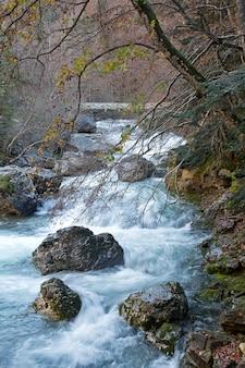 Herfst rivier in ordesa national park, pyreneeën, huesca, aragon, spanje