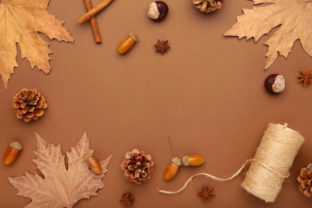 Herfst samenstelling. herfstbladeren en maïs, dennenappel, anijs ster. plat leggen, bovenaanzicht, kopie ruimte