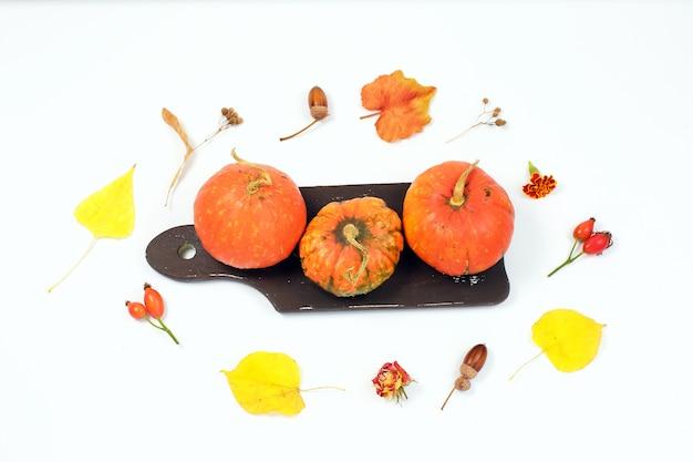 Herfst samenstelling. pompoenen en gedroogde bladeren op witte achtergrond. herfst, herfst, halloween-concept.