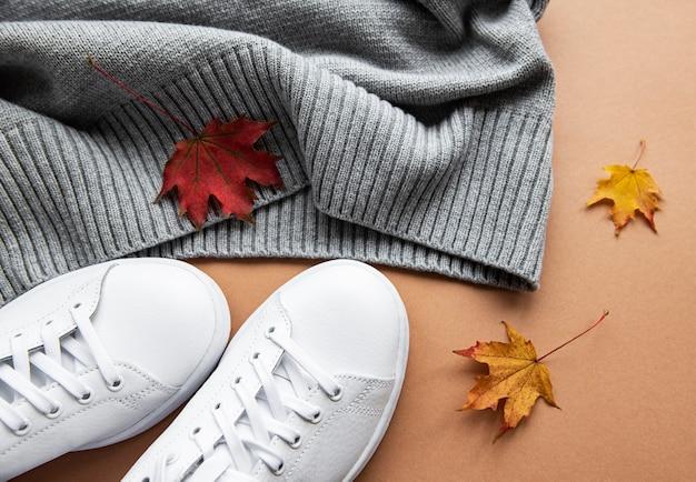 Herfst samenstelling. vrouwen mode kleding op bruin