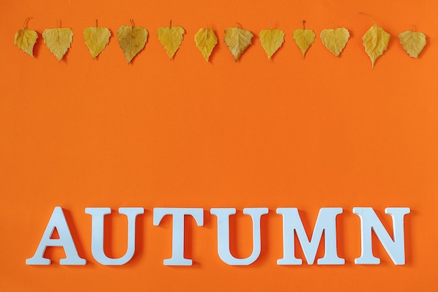 Herfst samenstelling. word herfst van witte letters en heldere herfstbladeren herbarium op oranje achtergrond.