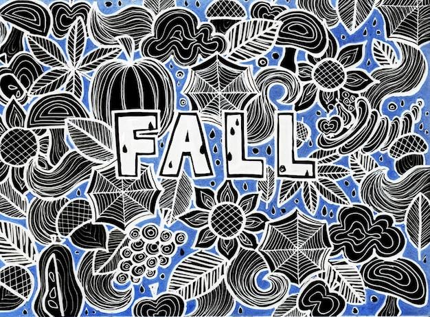 Herfst seizoen doodle. rasterillustratie van de herfstconcept. hand getekende schets.