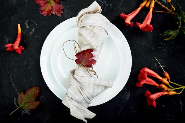 Herfst tabel instelling voor thanksgiving day viering