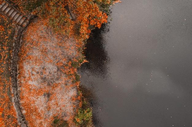 Herfst tafel. luchtfoto drone uitzicht op het meer en de sinaasappelboom