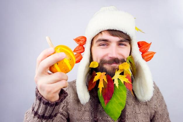 Herfst versierde baard