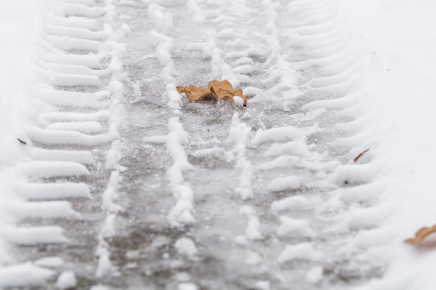 Herfstblad op sneeuw, de bandensporen.