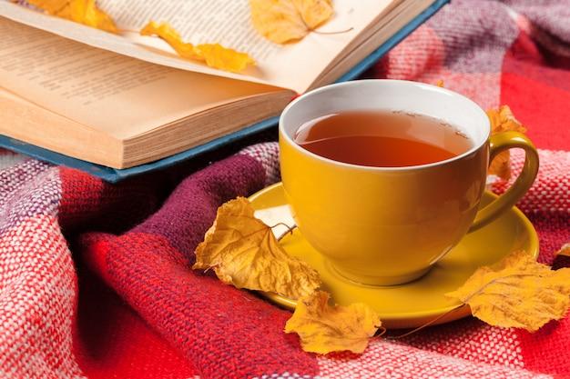 Herfstbladeren, boek en kopje thee