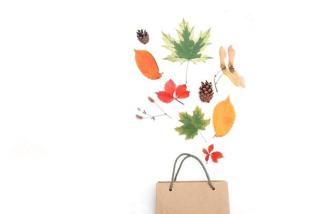 Herfstbladeren en kegels op witte achtergrond met pakket. vallen plat leggen, bovenaanzicht creatieve objecten.