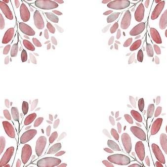 Herfstbladeren en takken aquarel afbeelding achtergrond. handgeschilderde bloemenelementen instellen. aquarel botanische illustratie.