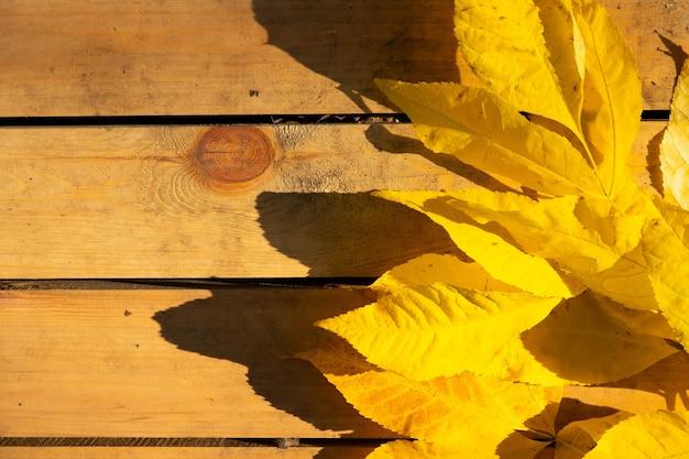 Herfstbladeren op een houten achtergrond met kopie ruimte